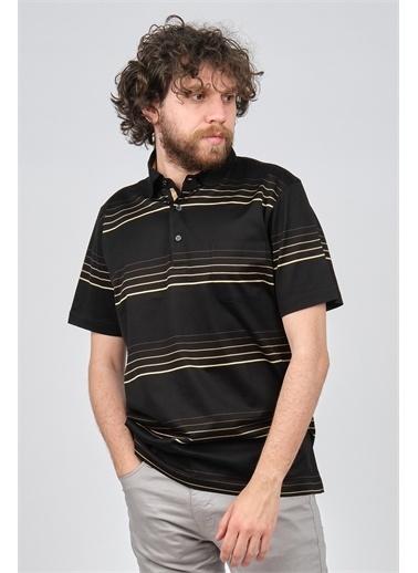 Arslanlı Arslanlı Erkek Çizgili Cep Detaylı Polo Yaka T-Shirt  Siyah